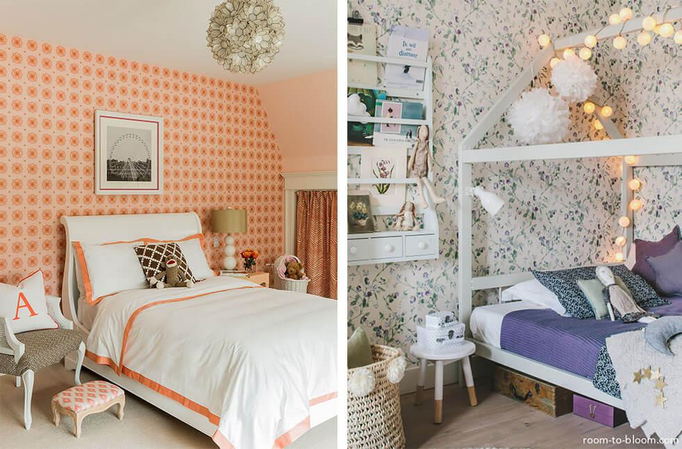 Girls bedroom with patterned wallpaper in a bright colour or in light florals
