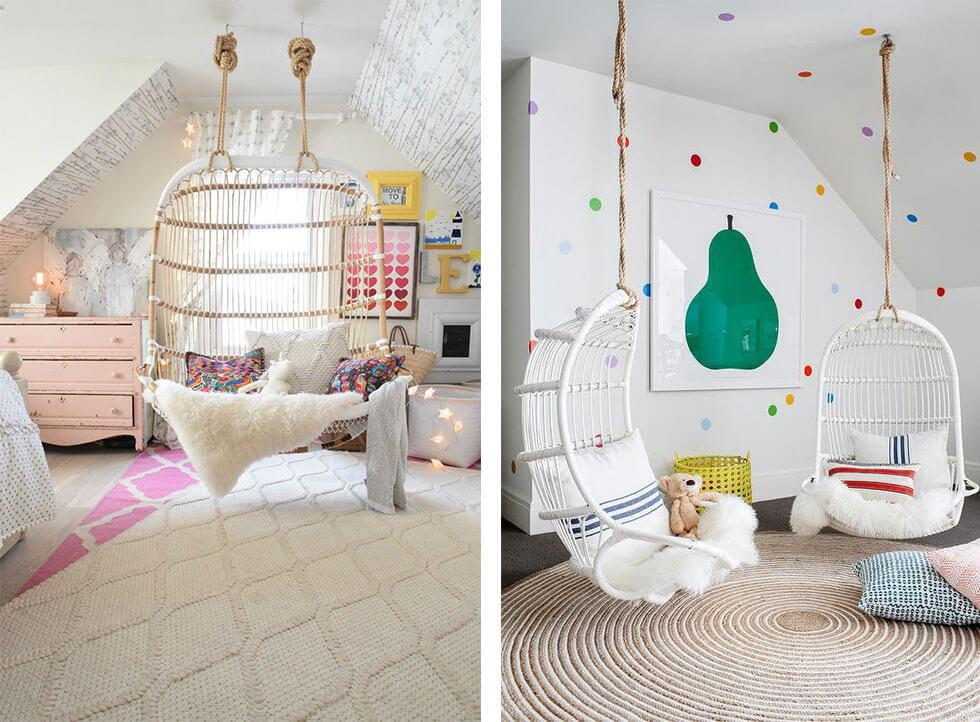 Rattan hanging chairs in a cosy girly white bedroom with rugs