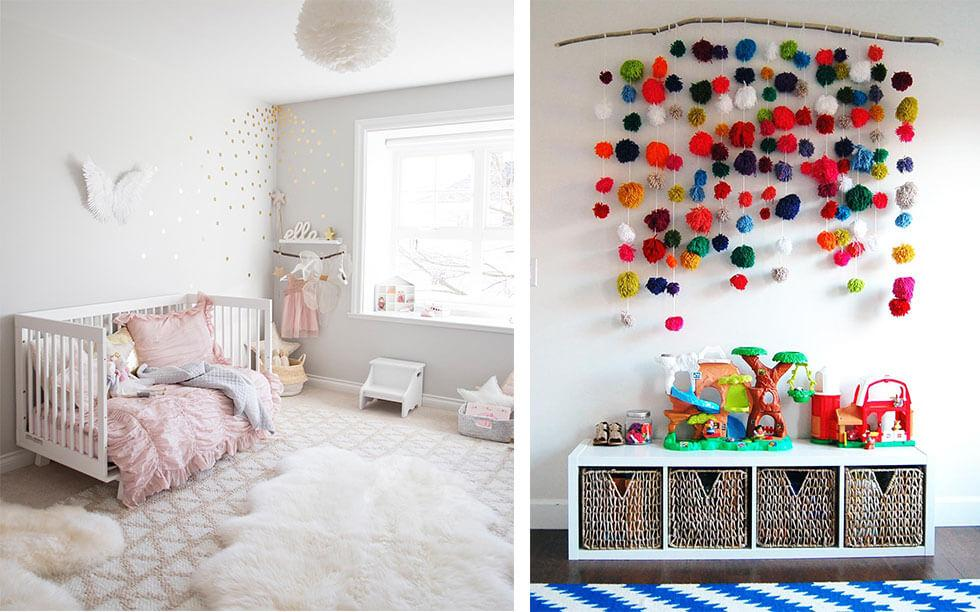 Girl bedrooms ideas featuring soft rugs and brightly coloured pom poms