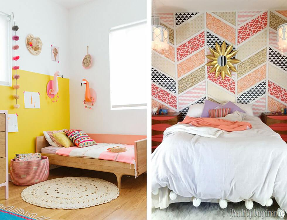 Girls bedrooms ideas with bold feature wall in bright primary colours or patterned shapes
