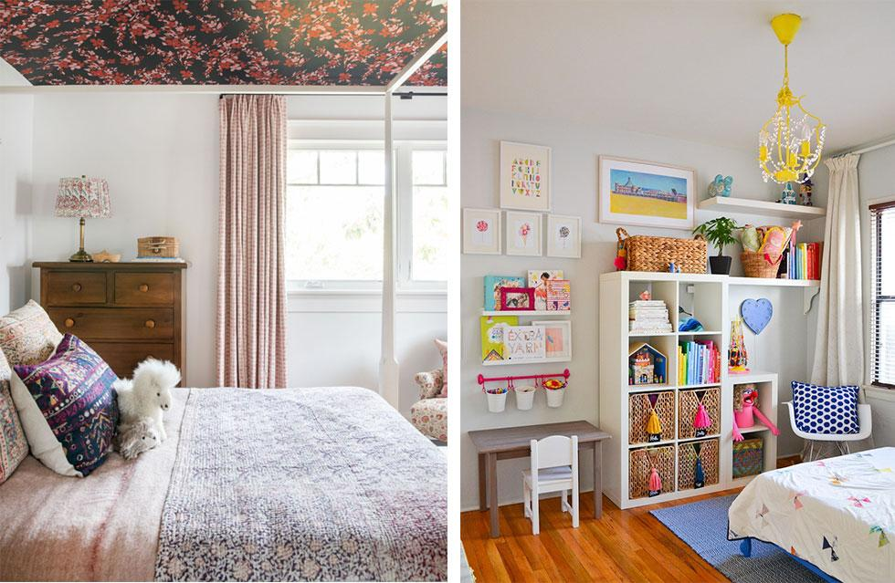 Girls bedrooms with decorated ceilings.