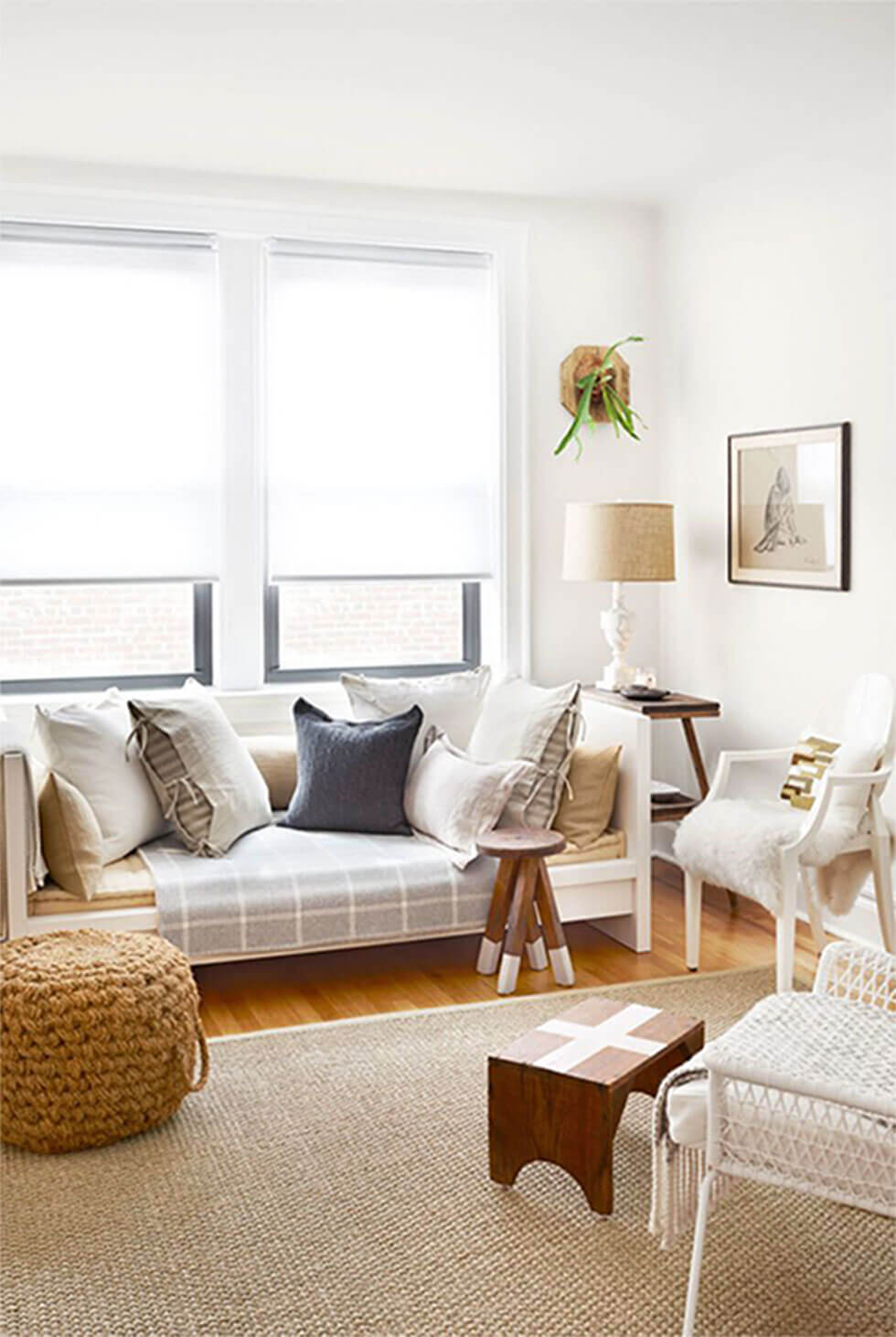 Neutral white living room with warm colours