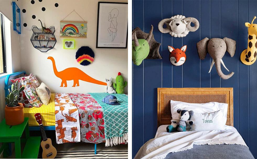 Boys bedroom decor with animal motifs