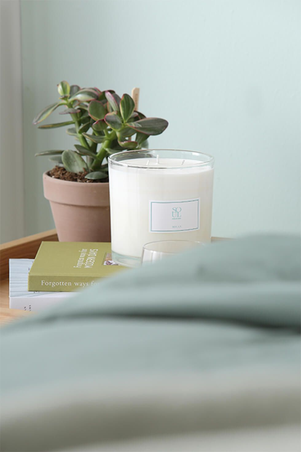 Bedside table with a potted plant and scented candle for a calming ambience