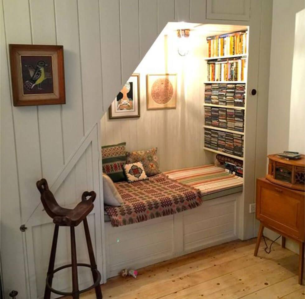cosy reading nook under the stairs