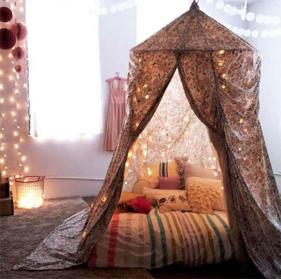 canopy reading nook with fairy lights