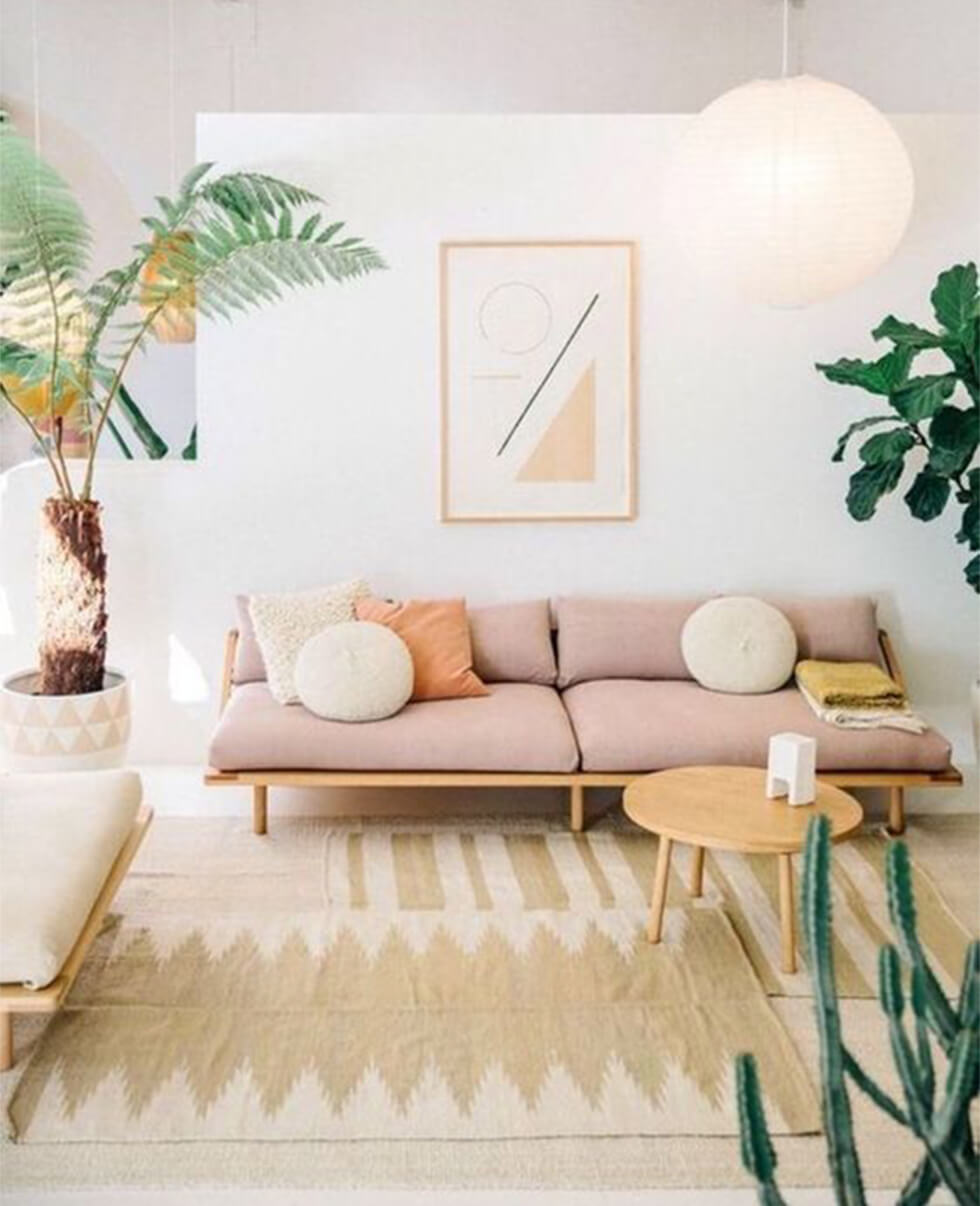 Light pink sofa in a tropical style living room