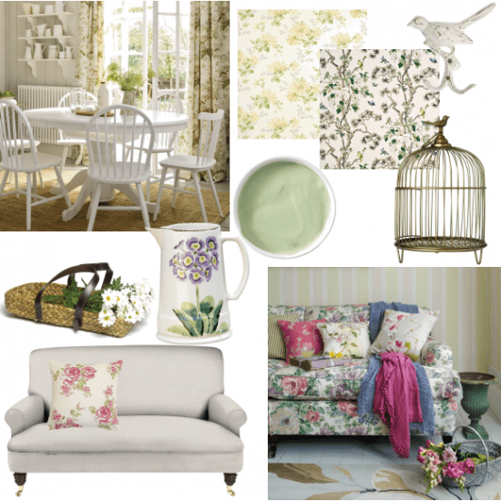 Collage of floral living rooms