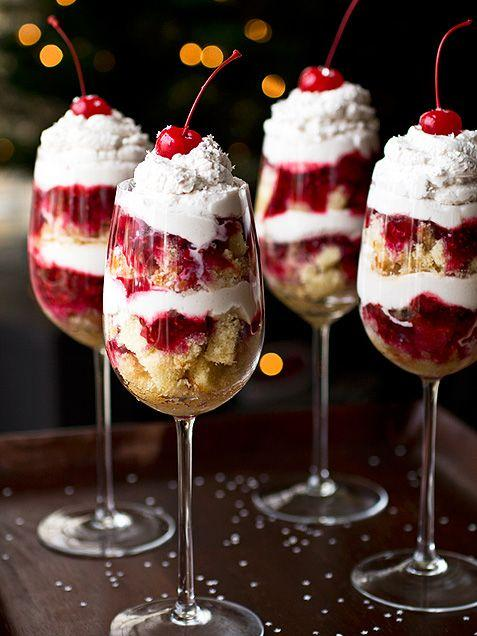 Trifle served in glasses