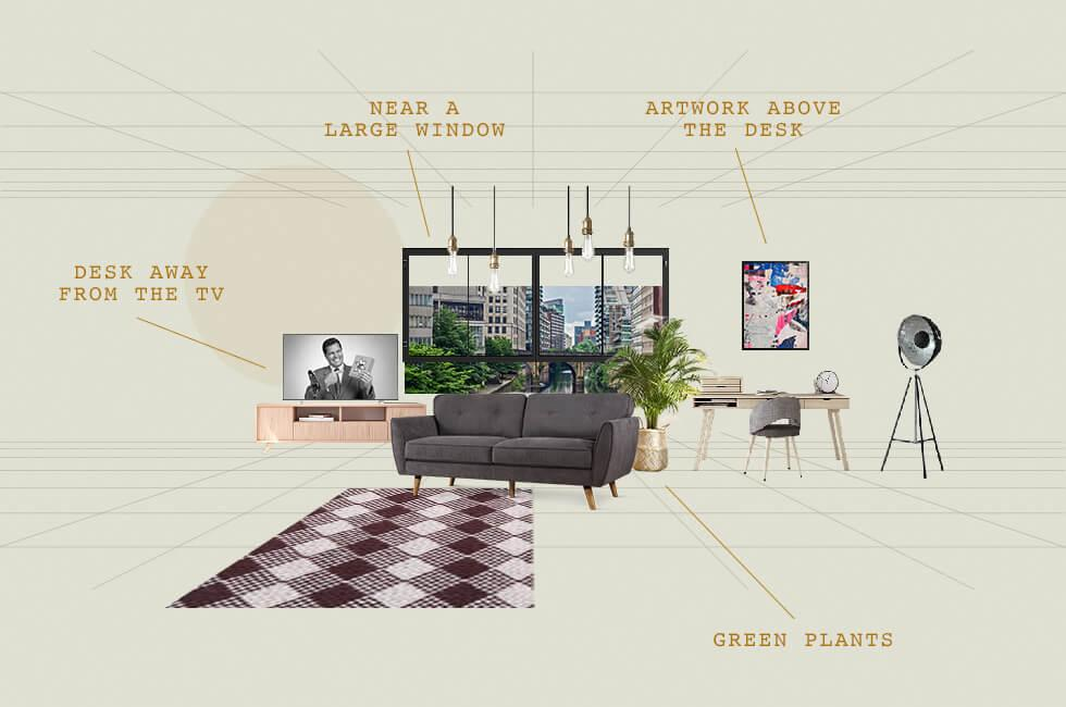 Living room plan with home office