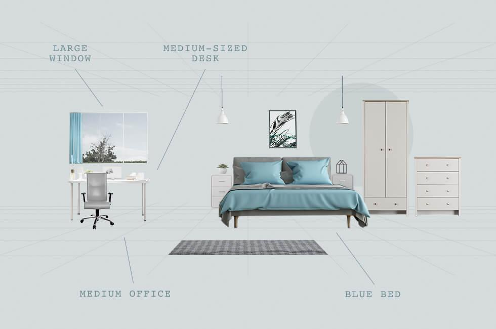 Bedroom plan with home office