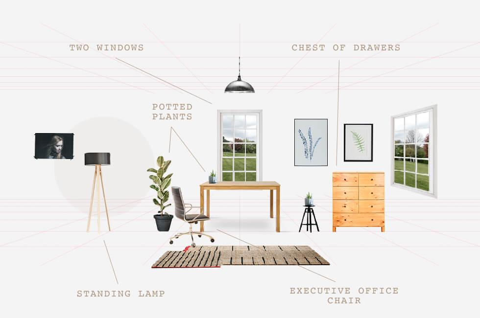 Home office plan for a light and airy space