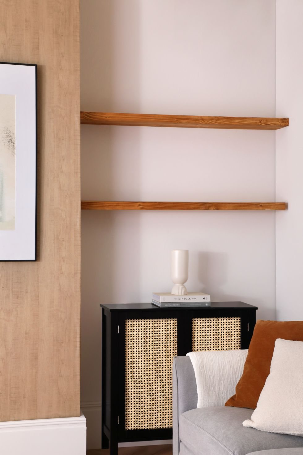Modern living room with wooden shelving