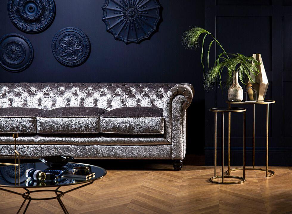 Glamorous crushed velvet Chesterfield sofa in the living room