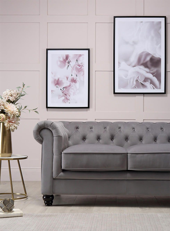 Grey velvet Chesterfield sofa in blush pink living room