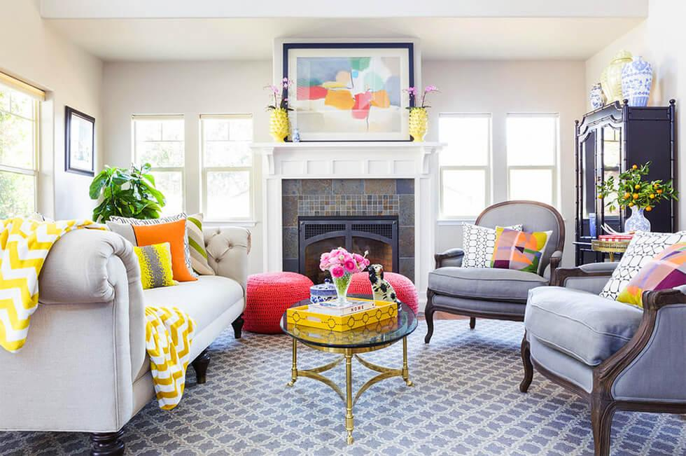 Patterned grey and yellow living room