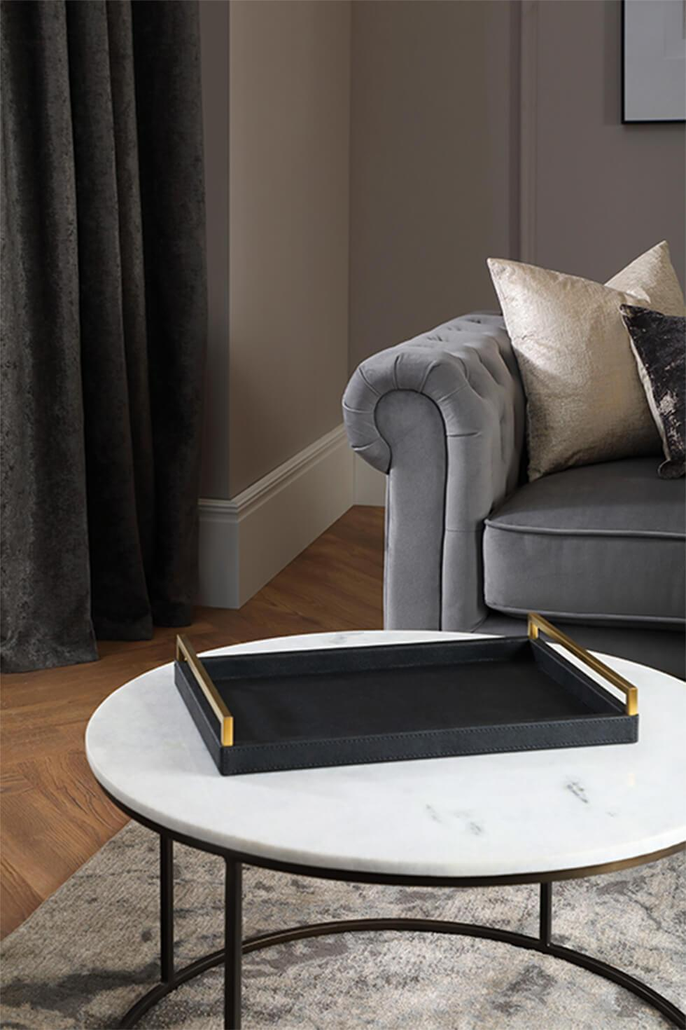 Marble coffee table with dark tray