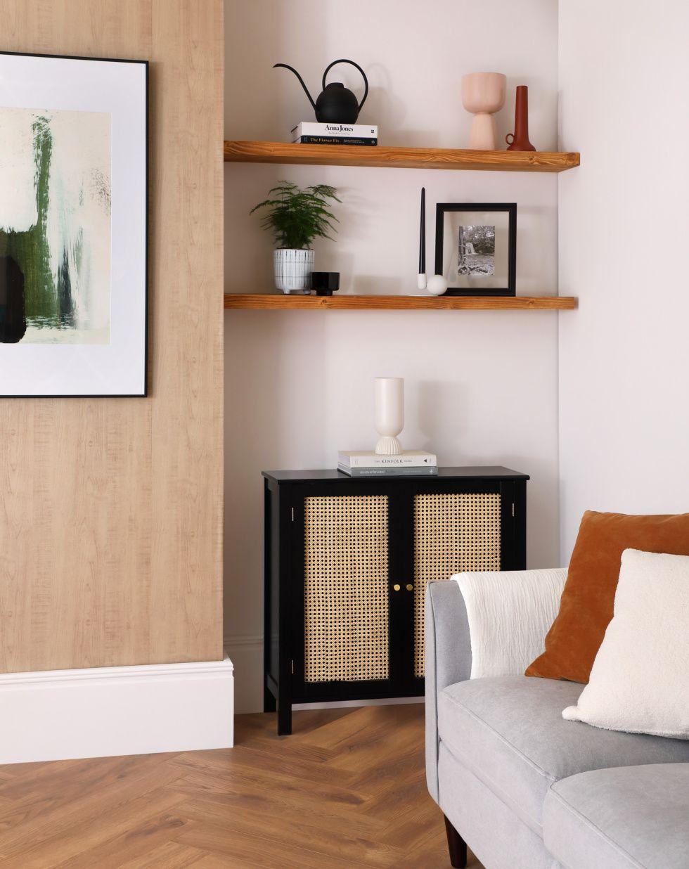 Modern living room with a Japandi style shelf