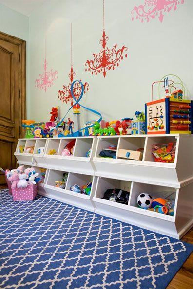 Childrens' toys organised into cubbies