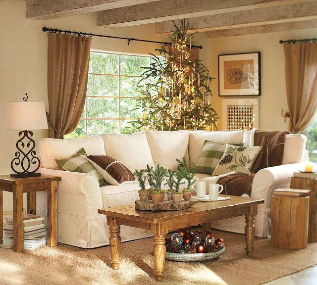 Rustic living room with wooden tables and white sofa