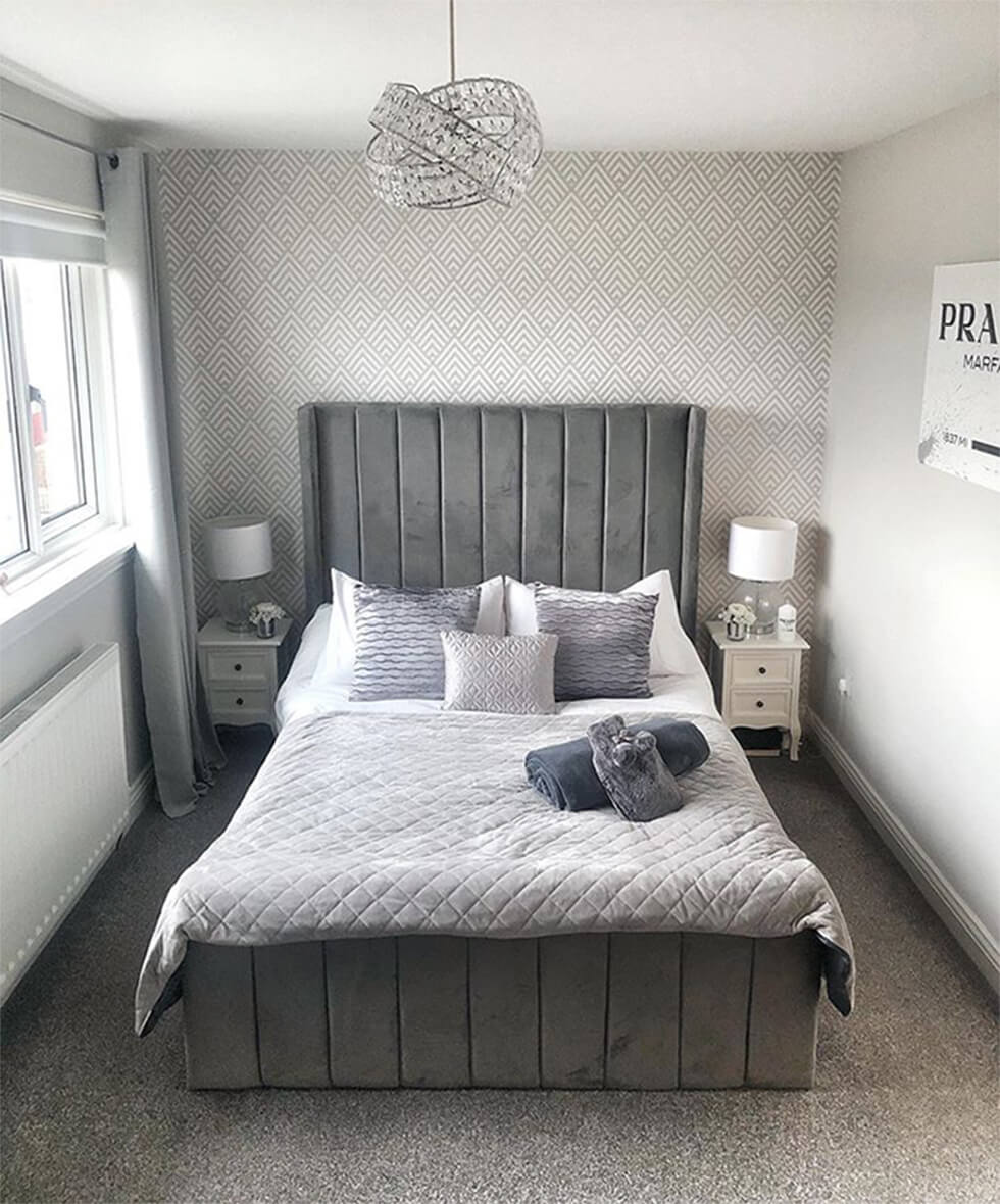 monochrome grey modern bedroom