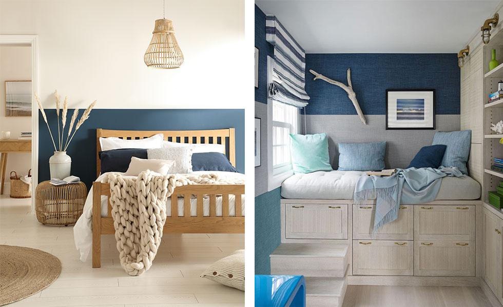 Wooden bed with white and navy walls, cosy corner with navy and grey walls