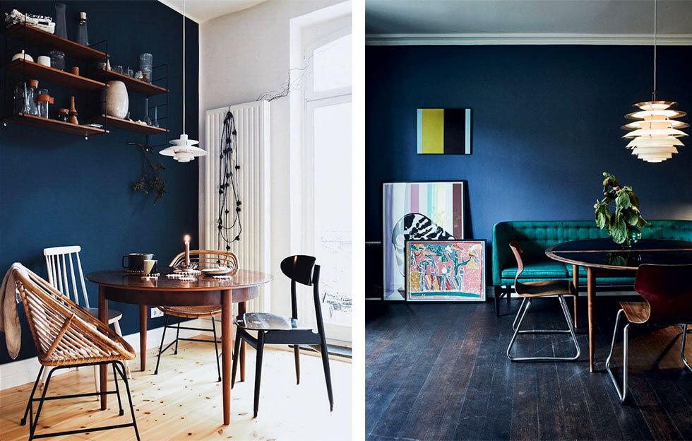 Dining spaces with a bold blue feature wall and wooden furniture