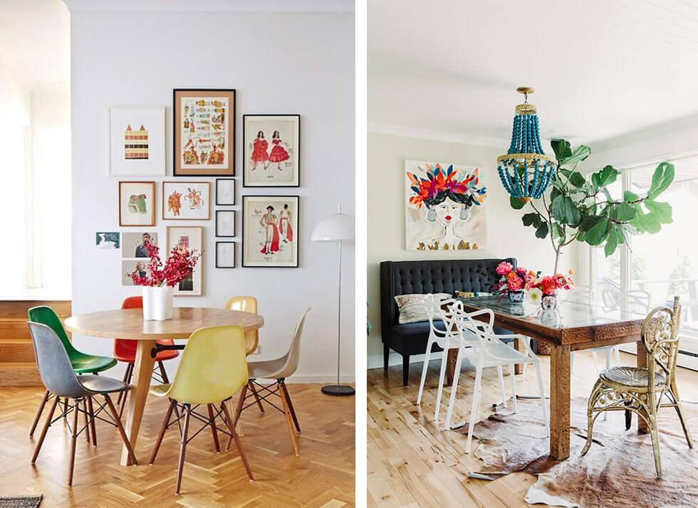 Colourful dining rooms with mismatched, mixed chairs.
