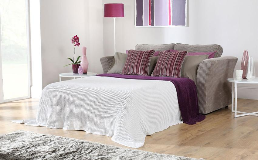 Grey and purple sofa bed