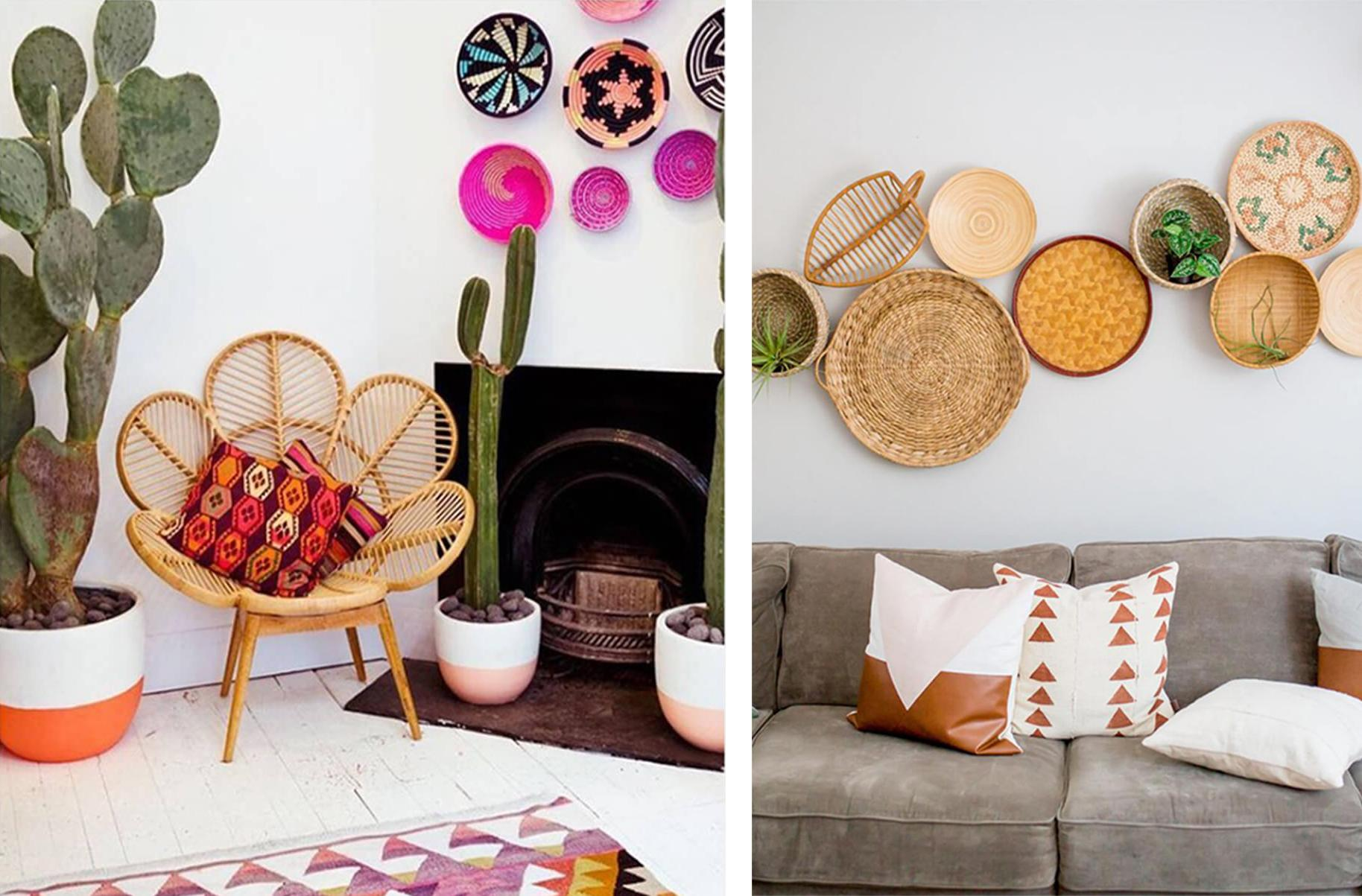 Rattan petal chair in colourful living room