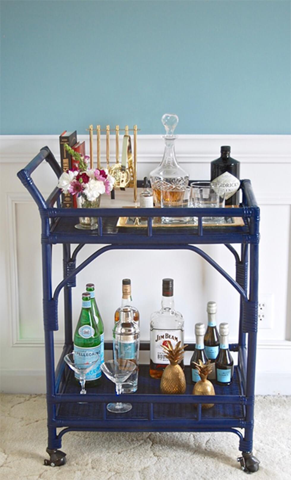 Glamorous blue rattan bar cart