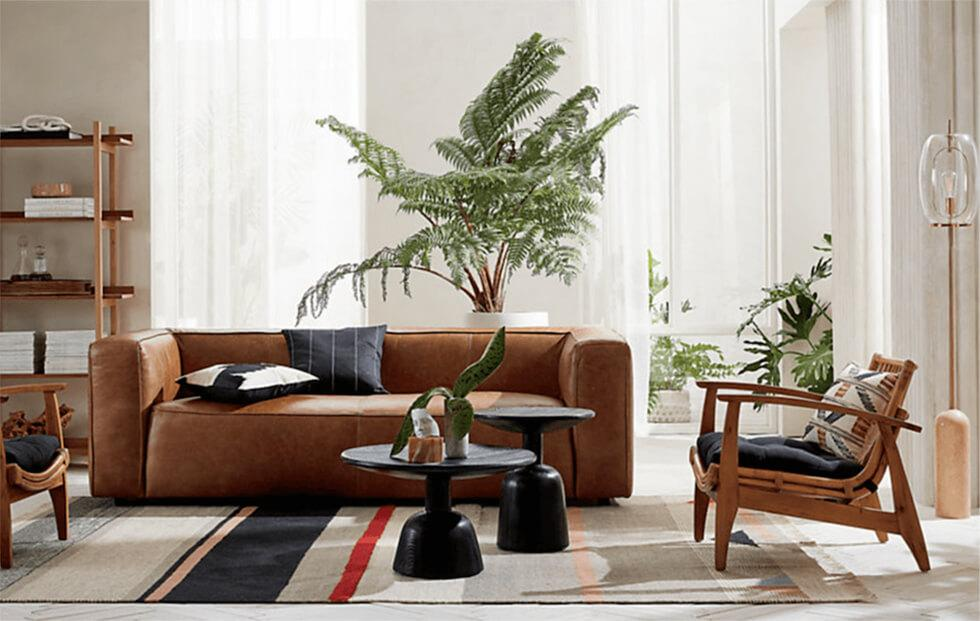 Contemporary living room with rattan lounge chair