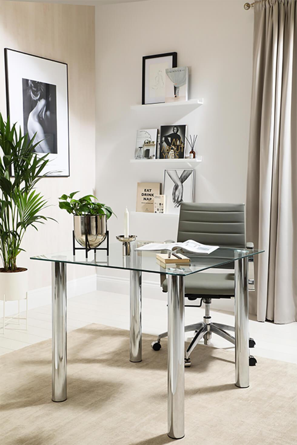 Neutral home office with chrome and glass table