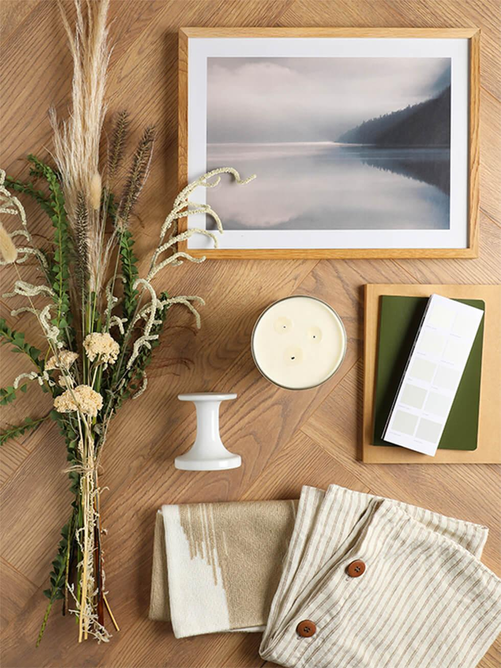 Flatlay of items for a mindful space