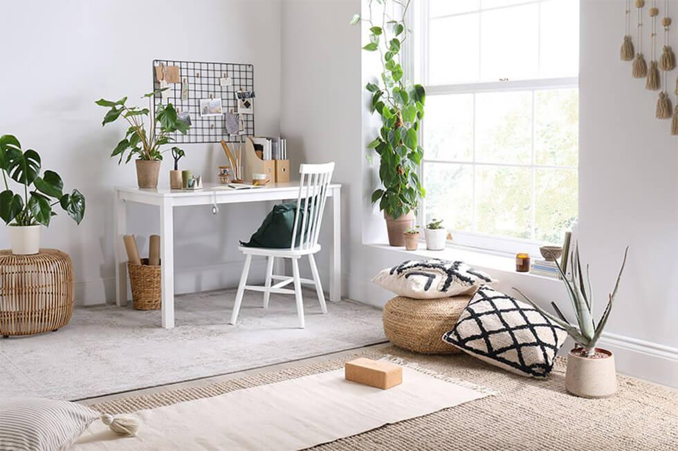 Home work space with natural lighting and relaxation area