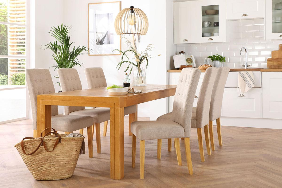 Cambridge Oak Extending Dining Table with Regent Oatmeal Fabric Chairs - Serene Spaces