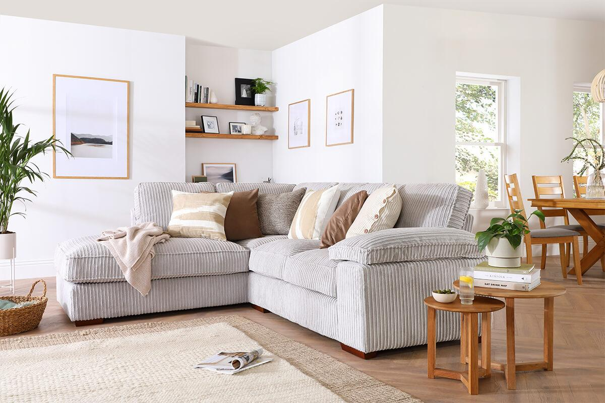 Cassie Grey Cord Sofa - Serene Spaces