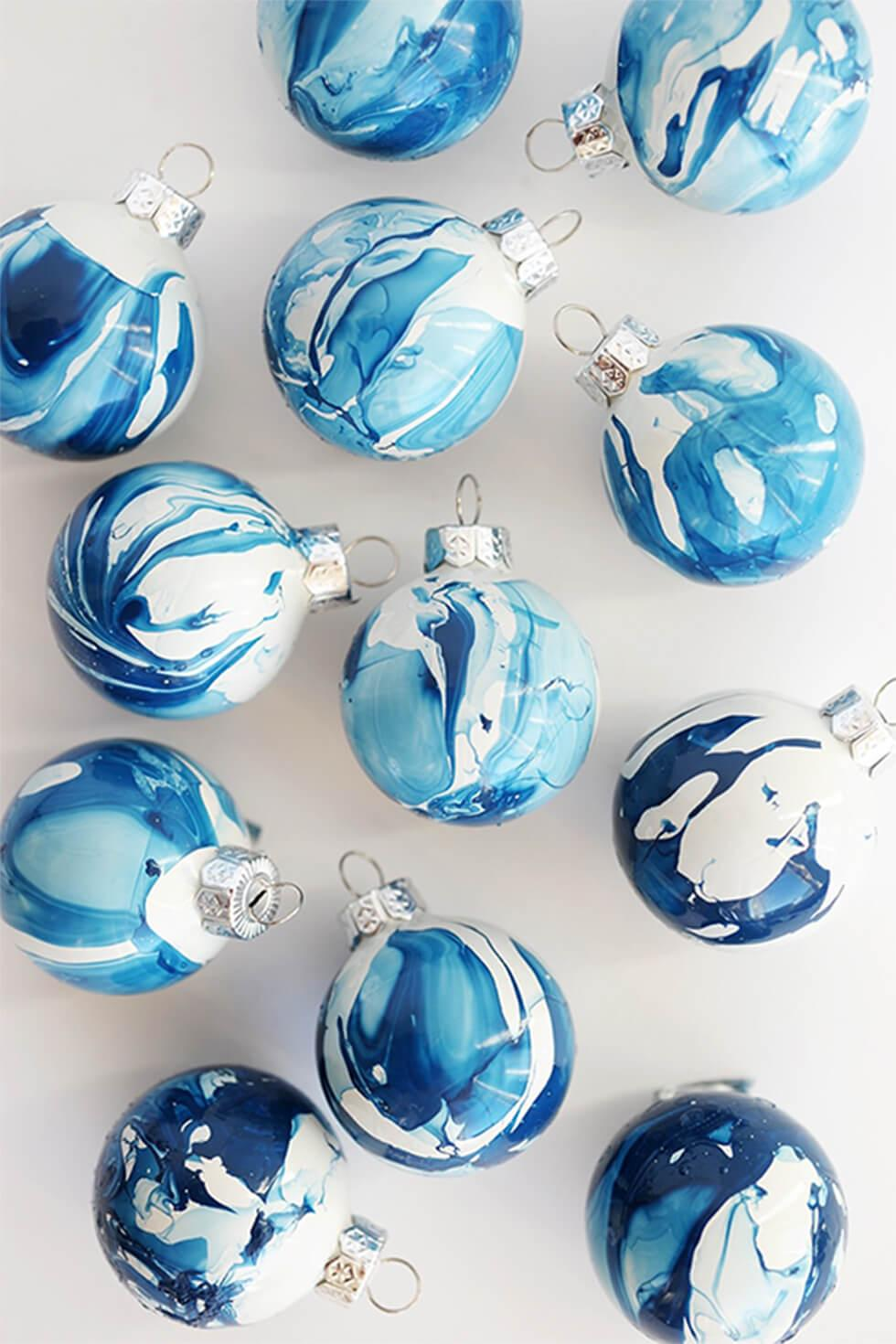 DIY blue and white marbled Christmas ornaments