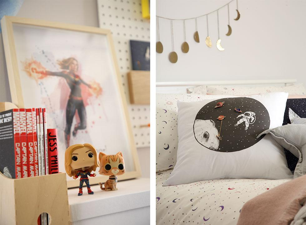 Fun Captain Marvel elements and cosmic home décorations.
