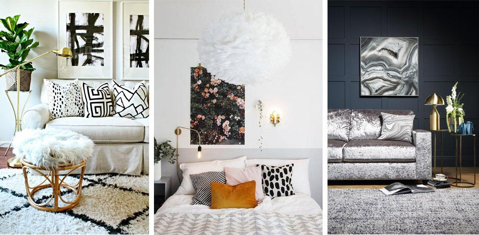 Collage of different furniture and decor.