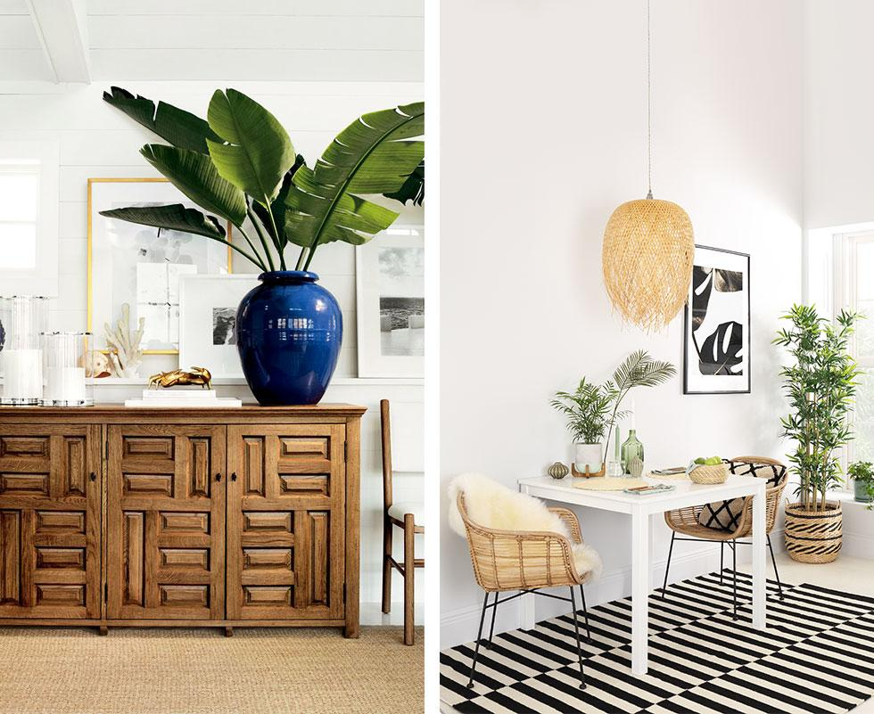 Collage of airy spaces with tropical plants.
