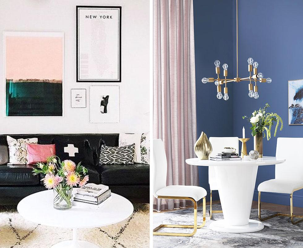 Collage of pastel-themed home spaces.