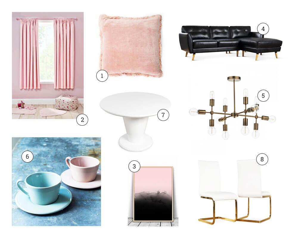 Collage of pastel home furniture and decor.