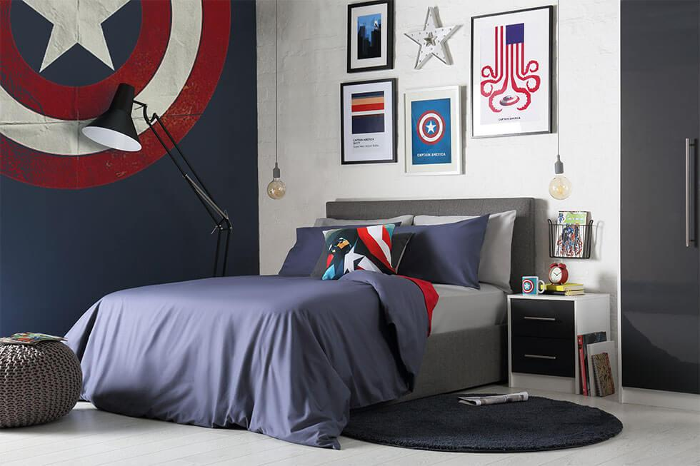 Captain America-inspired bedroom.