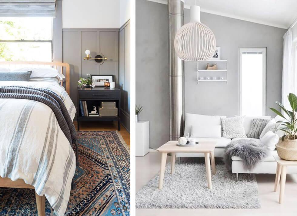 Light grey bedroom and living room.