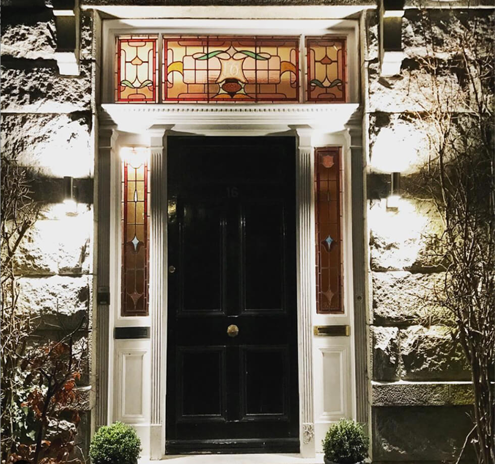 Front door of a Victorian home
