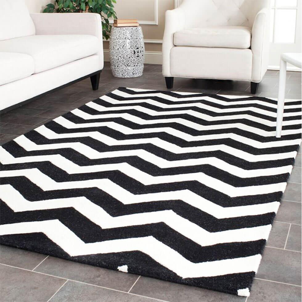 Retro modern chevron rug in the living room