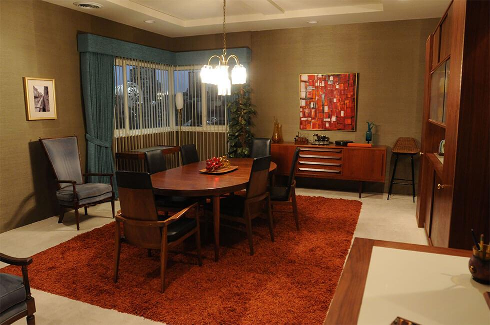 Dining room setting from Mad Men