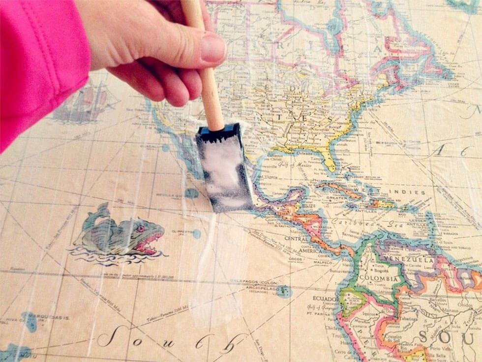 World map decoupage table inspired by game of thrones