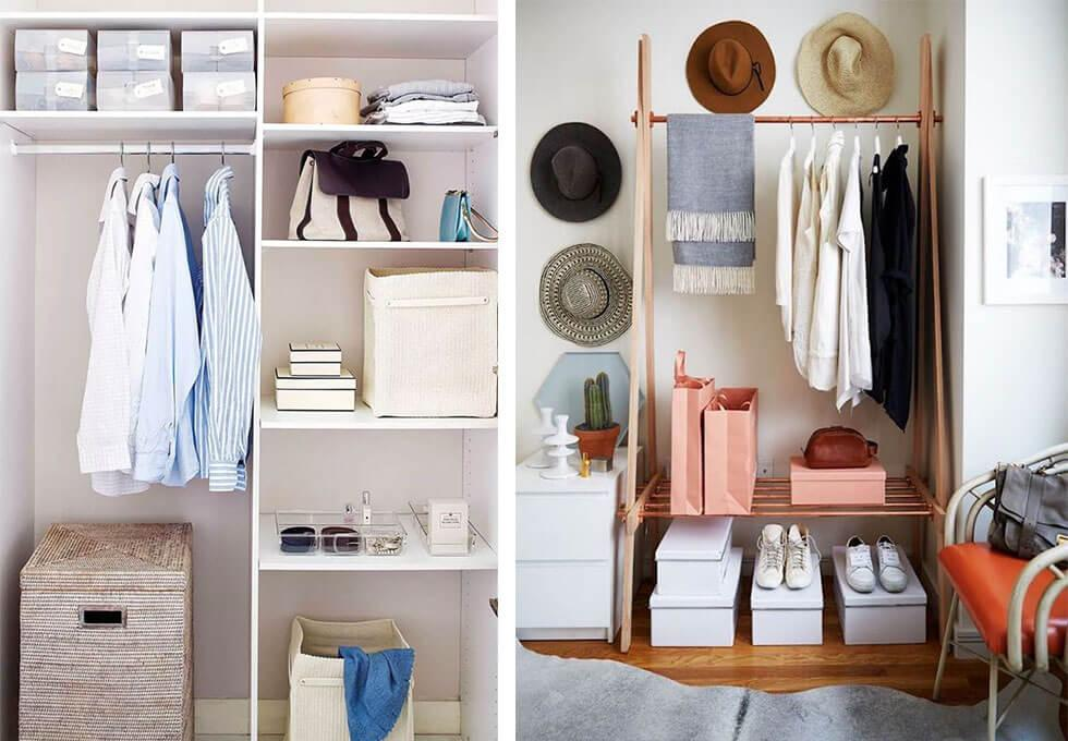 Tidy and organised wardrobes with clothing.